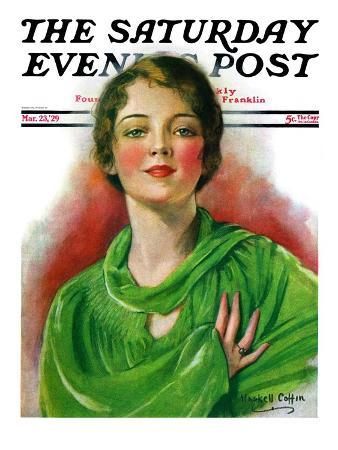 """""""Woman in Green,"""" Saturday Evening Post Cover, March 23, 1929"""