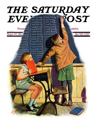 """""""'I Was Tardy',"""" Saturday Evening Post Cover, September 27, 1930"""