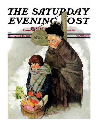 """""""Waiting for the Bus,"""" Saturday Evening Post Cover, December 13, 1930"""