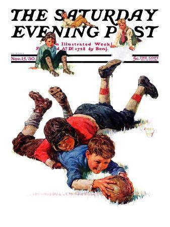 """Big Tackle,"" Saturday Evening Post Cover, November 15, 1930"