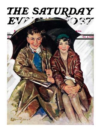 """Couple in Rain,"" Saturday Evening Post Cover, October 4, 1930"