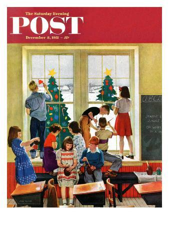 """Classroom Christmas"" Saturday Evening Post Cover, December 8, 1951"