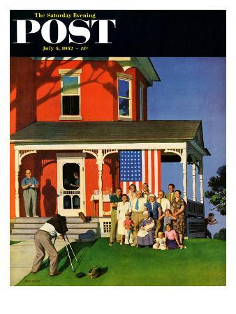 """""""Family Portrait on the Fourth"""" Saturday Evening Post Cover, July 5, 1952"""