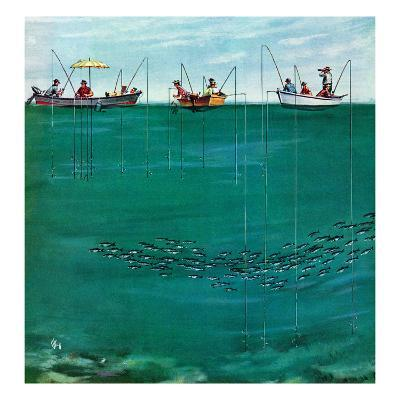 """""""School of Fish Among Lines"""", August 7, 1954"""