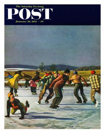 """""""Ice Skating on Pond"""" Saturday Evening Post Cover, January 26, 1952"""