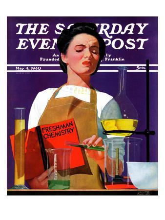 """Freshmen Chemistry,"" Saturday Evening Post Cover, May 4, 1940"