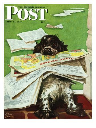 """""""Butch and the Sunday Paper,"""" Saturday Evening Post Cover, May 31, 1947"""