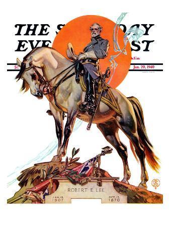 """Robert E. Lee on Traveler,"" Saturday Evening Post Cover, January 20, 1940"