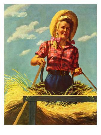 """""""Woman Driving Hay Wagon,"""" August 14, 1943"""