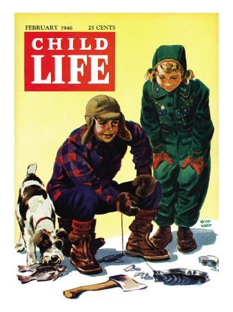 Ice Fishing - Child Life, February 1946