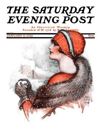 """Woman and Snowball,"" Saturday Evening Post Cover, January 17, 1925"