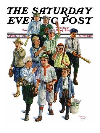 """Boy's Baseball Team,"" Saturday Evening Post Cover, April 17, 1926"