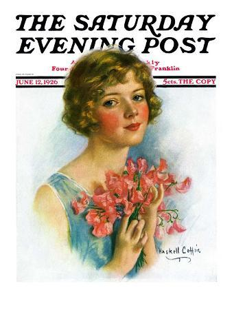 """""""Woman and Flowers,"""" Saturday Evening Post Cover, June 12, 1926"""