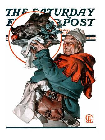 """Christmas Boar,"" Saturday Evening Post Cover, December 20, 1924"