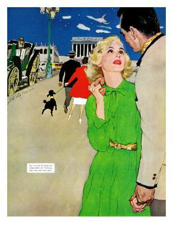 """Fugitive From Romance - Saturday Evening Post """"Leading Ladies"""", April 6, 1957 pg.35"""