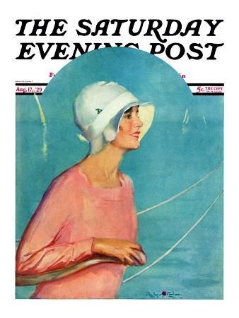"""Woman at the Rudder,"" Saturday Evening Post Cover, August 17, 1929"