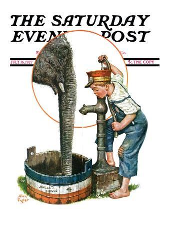 """""""Watering the Elephant,"""" Saturday Evening Post Cover, July 16, 1927"""