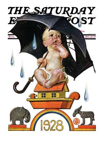 """""""Raining on Baby New Year,"""" Saturday Evening Post Cover, December 31, 1927"""