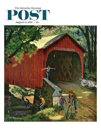 """Covered Bridge"" Saturday Evening Post Cover, August 14, 1954"