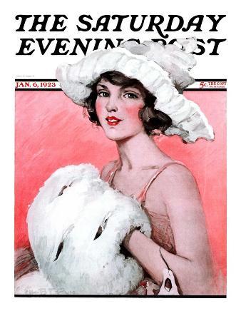 """Ermine Muff,"" Saturday Evening Post Cover, January 6, 1923"