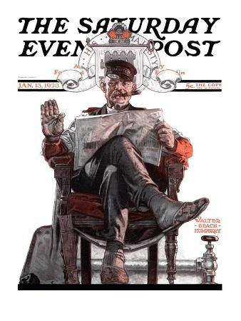 """""""His Majesty the Janitor,"""" Saturday Evening Post Cover, January 13, 1923"""