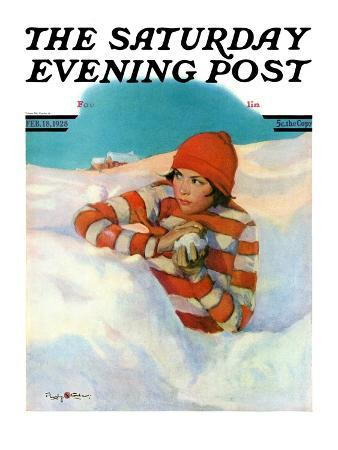 """""""Snowball Fight,"""" Saturday Evening Post Cover, February 18, 1928"""