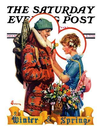 """Winter and Spring,"" Saturday Evening Post Cover, March 10, 1928"