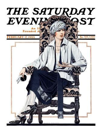 """Seated Woman,"" Saturday Evening Post Cover, February 17, 1923"
