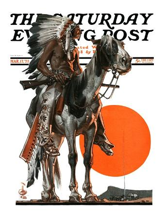 """""""Indian Sunset,"""" Saturday Evening Post Cover, March 17, 1923"""