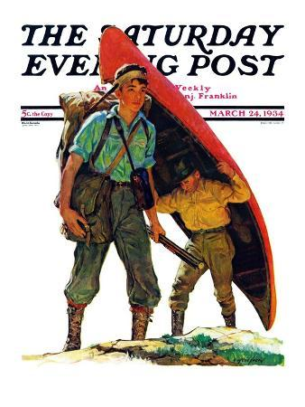 """Canoe Portage,"" Saturday Evening Post Cover, March 24, 1934"