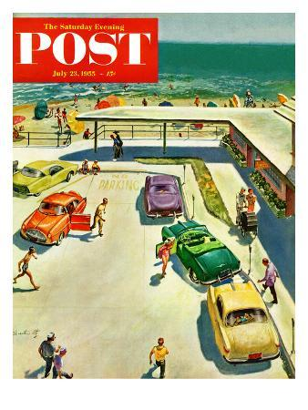 """""""Flat Tire at the Beach"""" Saturday Evening Post Cover, July 23, 1955"""