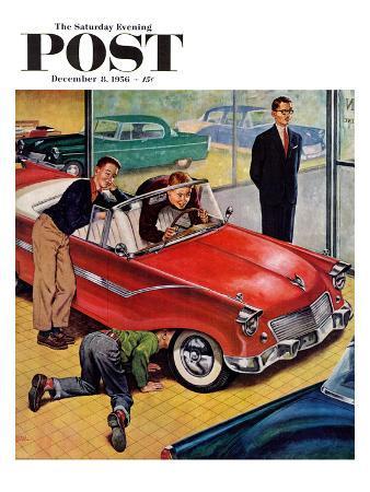 """Automobile Showroom"" Saturday Evening Post Cover, December 8, 1956"