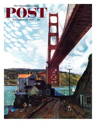 """Fishing Under the Golden Gate"" Saturday Evening Post Cover, November 16, 1957"