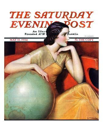 """""""Woman and Globe,"""" Saturday Evening Post Cover, May 12, 1934"""
