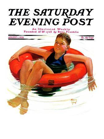 """Boy in Inner Tube,"" Saturday Evening Post Cover, August 1, 1936"