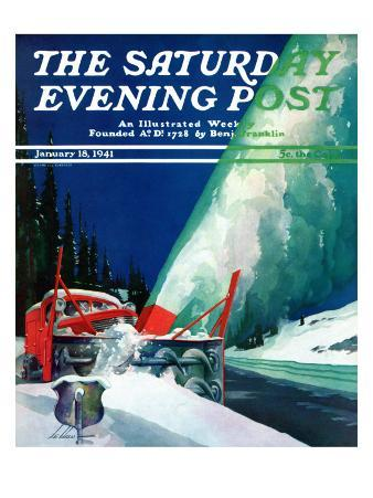 """""""Highway Snowplow,"""" Saturday Evening Post Cover, January 18, 1941"""