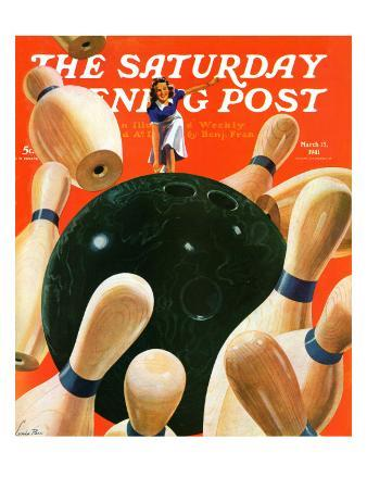 """""""Bowling Strike,"""" Saturday Evening Post Cover, March 15, 1941"""
