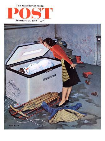 """""""Frosty in the Freezer"""" Saturday Evening Post Cover, February 21, 1959"""