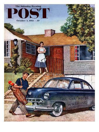 """""""This Car Needs Washing"""" Saturday Evening Post Cover, October 3, 1953"""