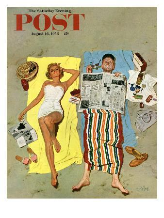 """""""Sunscreen?"""" Saturday Evening Post Cover, August 16, 1958"""