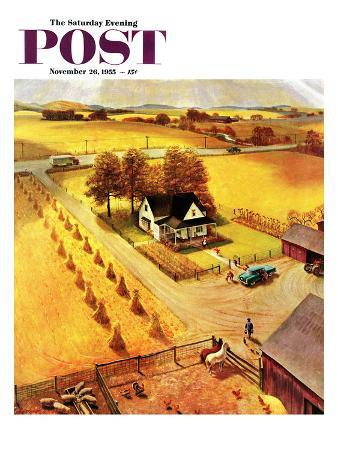 """""""Thanksgiving on the Farm"""" Saturday Evening Post Cover, November 26, 1955"""