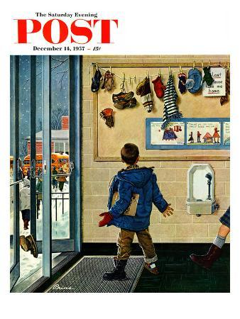 """""""Lost His Mitten"""" Saturday Evening Post Cover, December 14, 1957"""