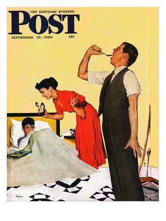 """""""Take Your Medicine"""" Saturday Evening Post Cover, September 23, 1950"""