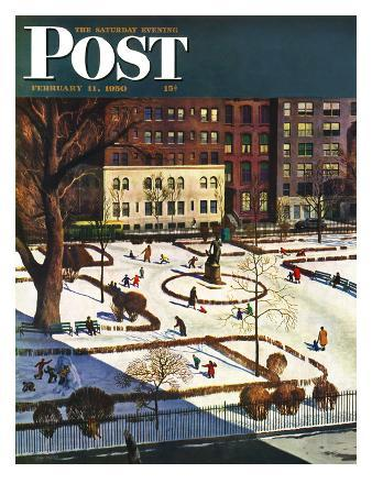 """""""Gramercy Park"""" Saturday Evening Post Cover, February 11, 1950"""