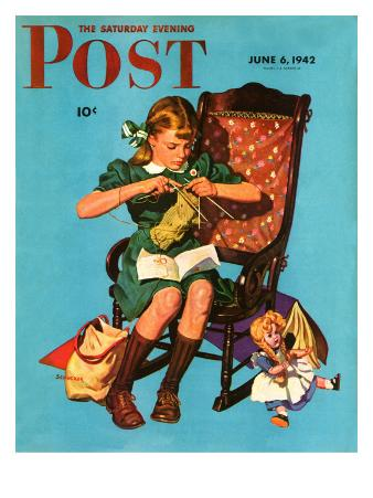 """""""Knitting for the War Effort,"""" Saturday Evening Post Cover, June 6, 1942"""