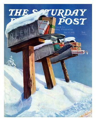 """""""Mailboxes in Snow,"""" Saturday Evening Post Cover, December 27, 1941"""