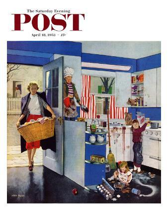 """Mother's Little Helpers"" Saturday Evening Post Cover, April 18, 1953"