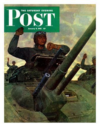 """""""Tank Attack,"""" Saturday Evening Post Cover, January 9, 1943"""