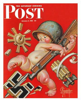 """""""Baby New Year at War,"""" Saturday Evening Post Cover, January 2, 1943"""