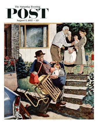 """Visiting the Grandparents"" Saturday Evening Post Cover, August 3, 1957"